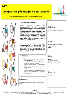 A17-Adapter sa pédagogie en Maternelle